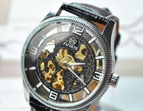 Men's Leather Strap Mechanical Watch - TrendSettingFashions