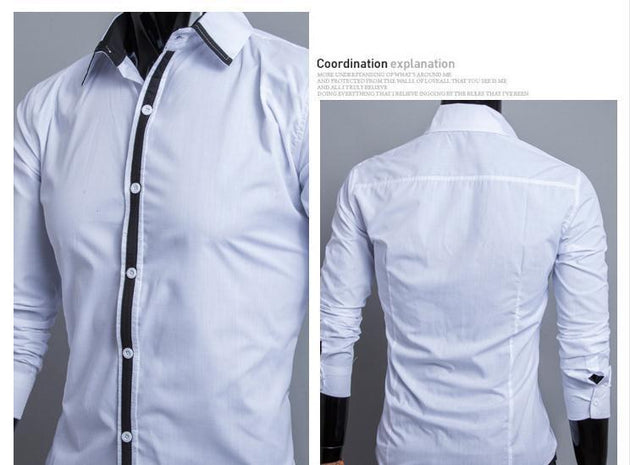 Men's Dress Shirt with Stripe Middle - TrendSettingFashions