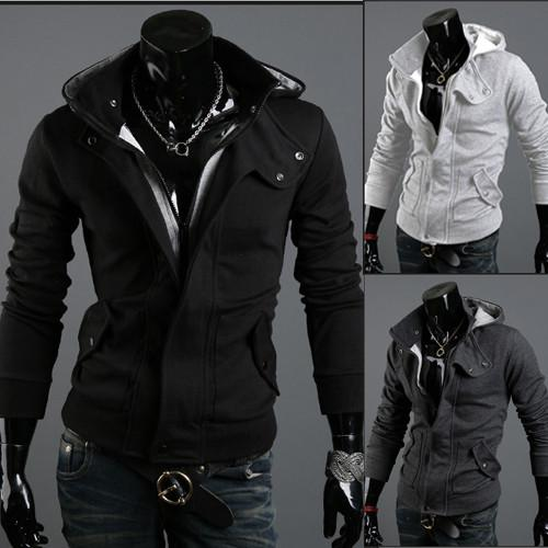 Men's Full Zip Hoodie With Button Collar - TrendSettingFashions   - 1