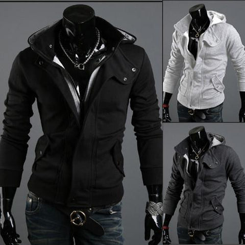 Men's Full Zip Hoodie With Button Collar
