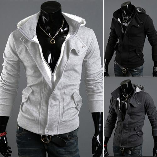 Men's Full Zip Hoodie With Button Collar - TrendSettingFashions   - 2