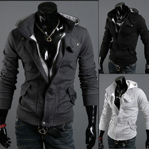 Men's Full Zip Hoodie With Button Collar - TrendSettingFashions   - 3