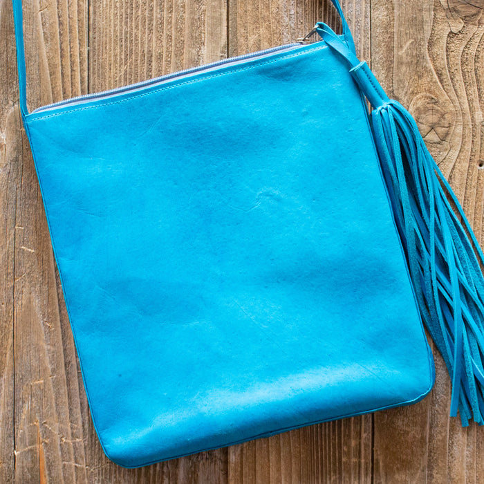 Teal Leather Boho Crossbody
