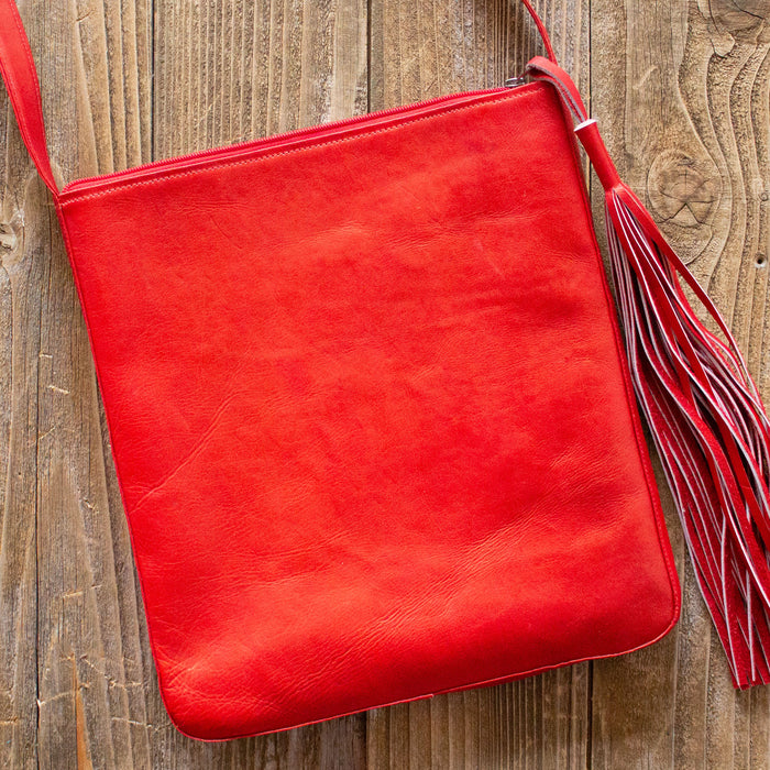 Red Leather Boho Crossbody