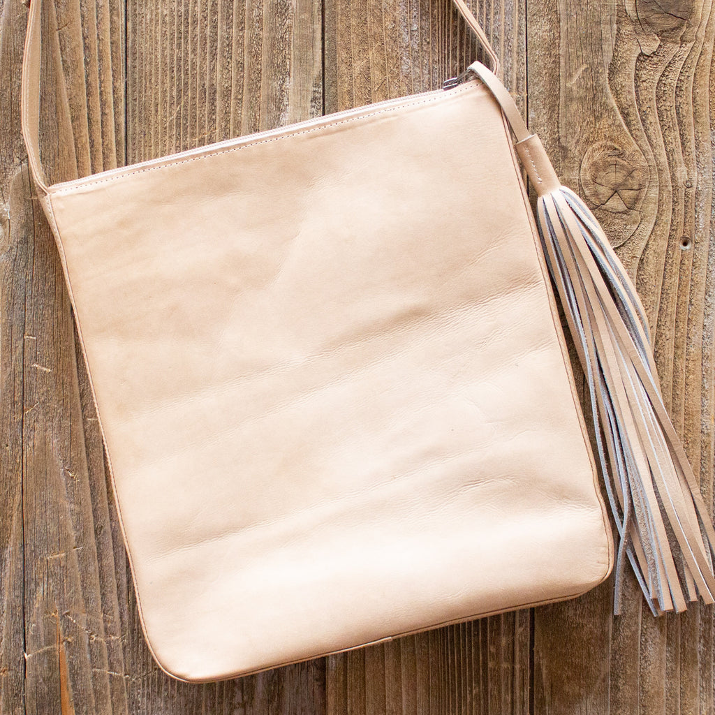 Blonde Leather Boho Crossbody