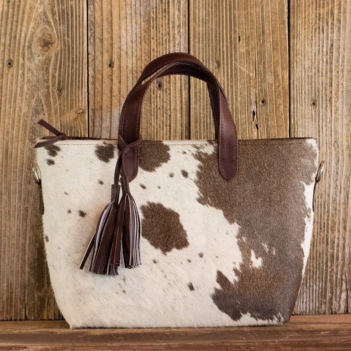 Cowhide Crossbody Purse Brown Leather
