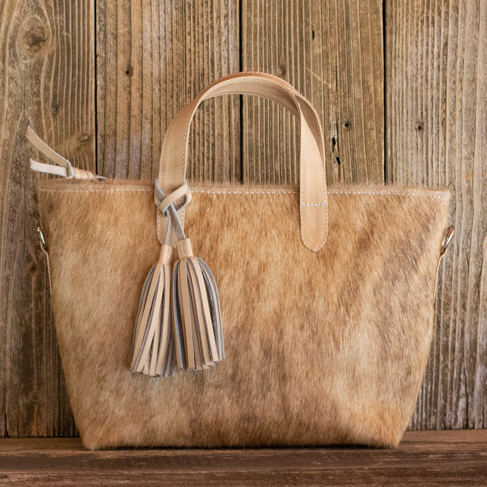 Cowhide Crossbody Purse Blonde Leather
