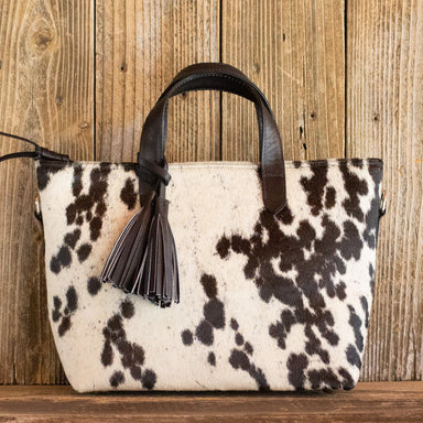 Cowhide Crossbody Purse Black Leather
