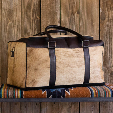 Cowhide Weekender Bag Black Leather
