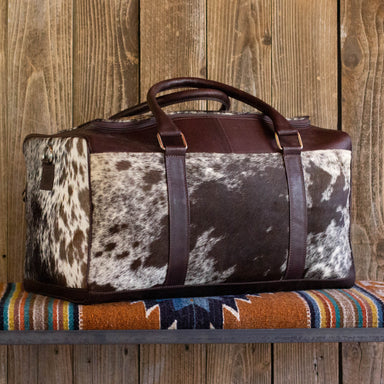 Cowhide Weekender Bag Brown Leather