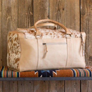 Cowhide Weekender Bag Blonde Leather