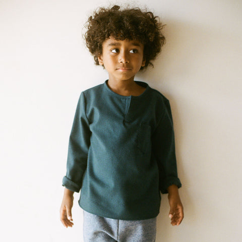 Cotton Long Sleeve Kurta Top - Forest Green - 2-10y