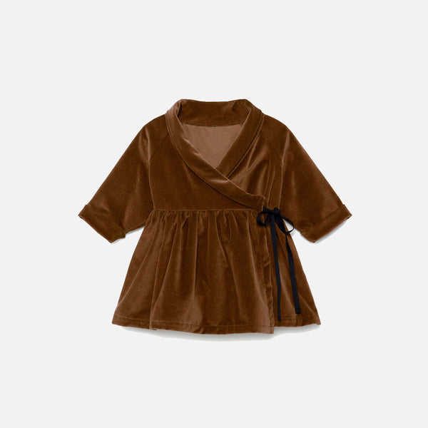 Cotton Baby Rose's Velvet Dress - Copper - 12-24m