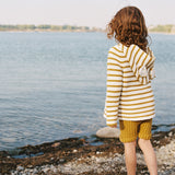 Knitted Cotton Koala Hoodie Stripe - White/Ochre - 1-6y
