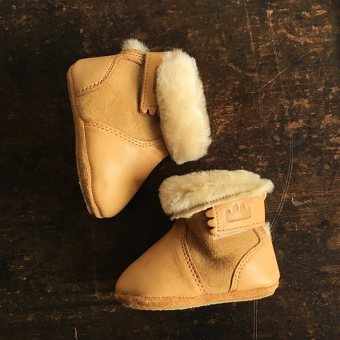 Eco leather wool lined slippers - Chobotte - Natural 20-24