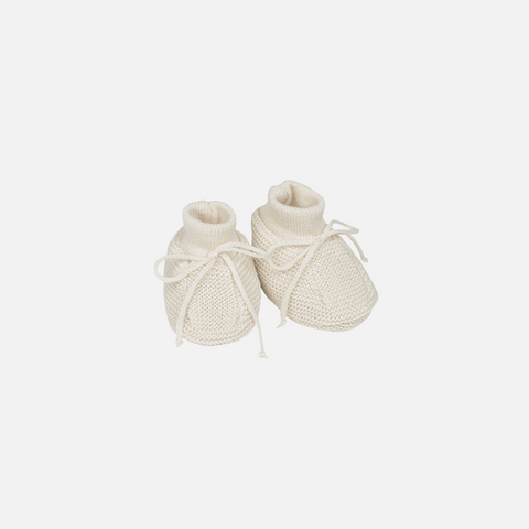 Organic Fine Knitted Merino Booties - Natural - 0-6m