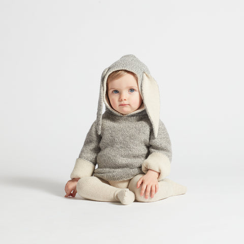 Alpaca Double Layer Rabbit Hoodie - 12m-6y