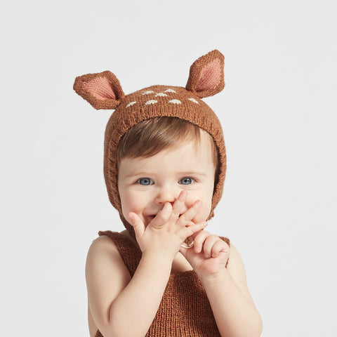 Alpaca Bambi hat - Brown - 0m-4y