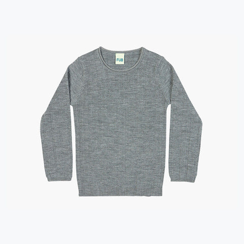 Fine Knit Merino Rib Top - Grey - 3-10y