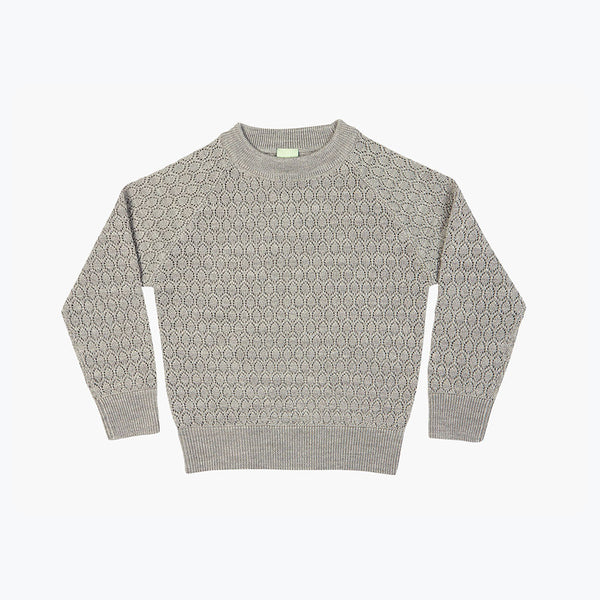 Fine Knit Merino Lace Sweater - Light Grey - 3-10y