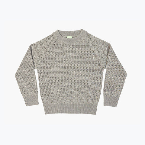 Fine Knit Merino Lace Sweater - Light Grey - 4-6y