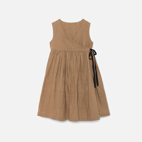 Linen Polina's Apron Dress  - Muddy Brown - 12m-8y