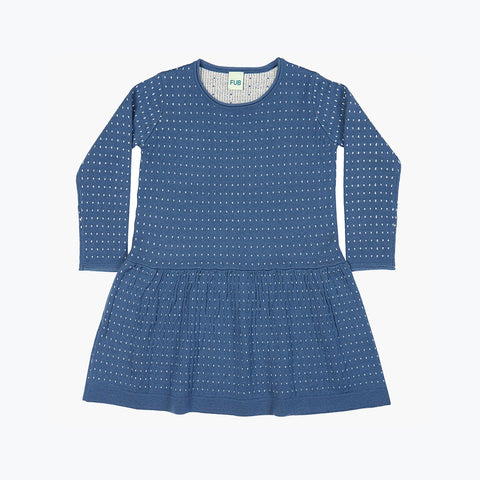 Fine Merino Dot Dress - Denim/Ecru - 3-10y