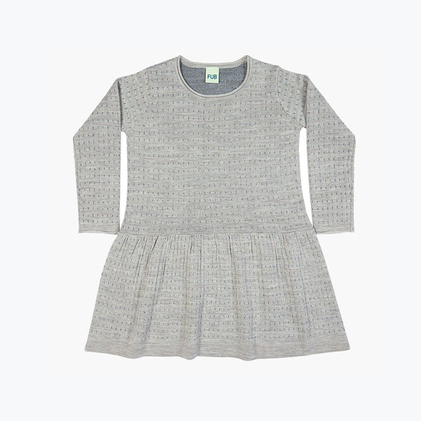 Fine Merino Dot Dress - Light Grey/Grey - 4-8y
