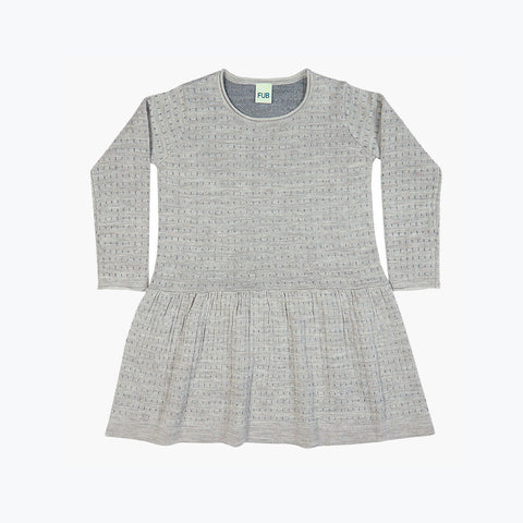 Fine Merino Dot Dress - Light Grey/Grey - 7-8y