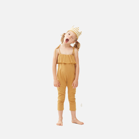 Cotton Ruffle Jersey Overall - Ochre - 2-6y