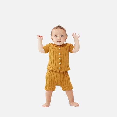 Knitted Cotton Ribbed SS Cardigan - Ochre - 12m