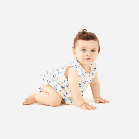 Linen Romper Button Neck - White/Whales - 6m-2y