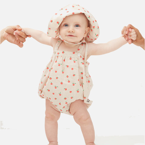 Linen Romper with Straps - Beige/Peaches - 6m-2y