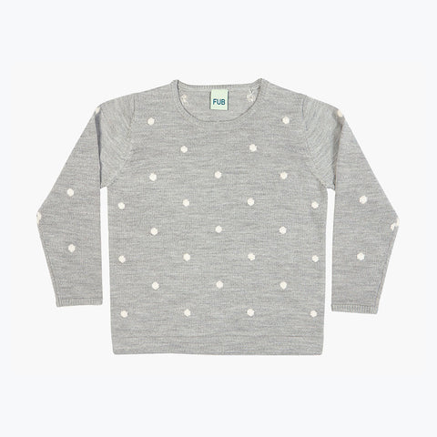 Fine Knit Merino Dot Top - Light Grey - 3-10y