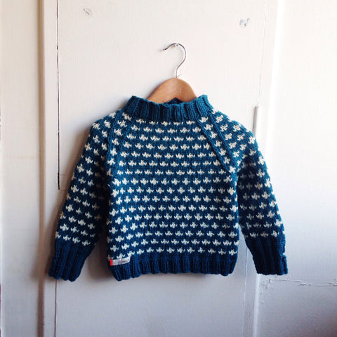 Hand-Knit Sweater Knud - Petrol/White - 3-10y