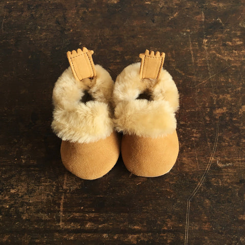 Eco Leather Slippers -  Minion - Natural 16-23
