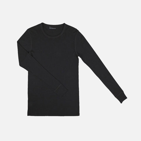 Mens Merino Wool Long Sleeve Top - Black