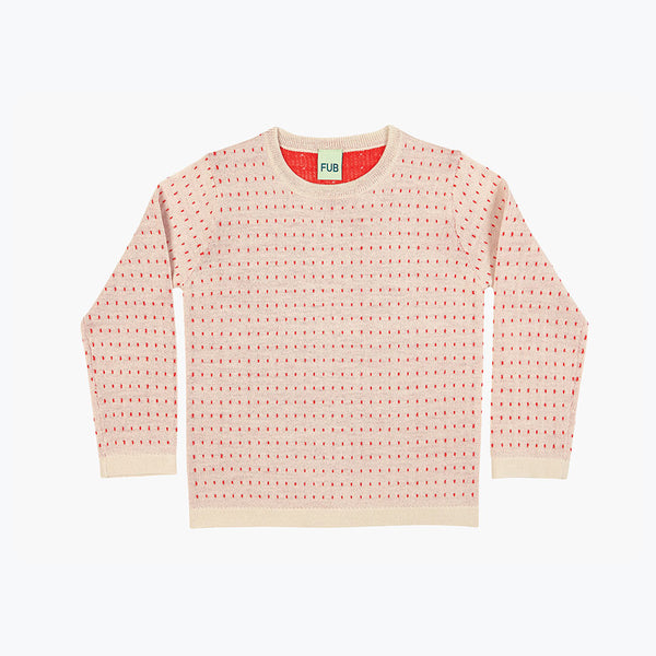 Fine Knit Merino Dot Top - Ecru/Red - 5-6y