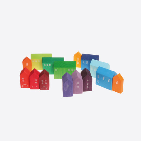 Handpainted small wooden town houses