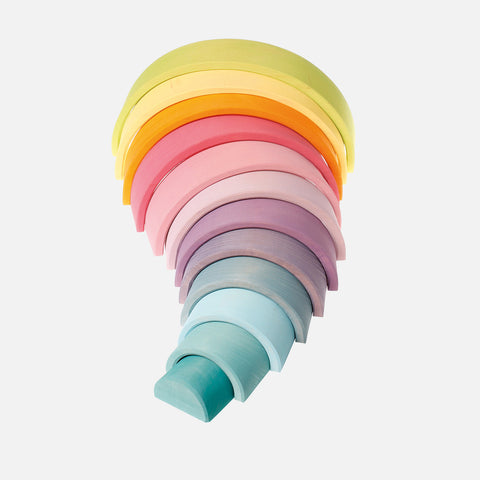 Extra Large 12 Piece Wooden Rainbow - Pastel