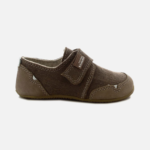 Velcro Cotton Canvas Slipper Shoe- Acorn