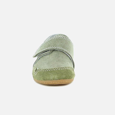 Velcro Cotton Canvas Slipper Shoe - Khaki