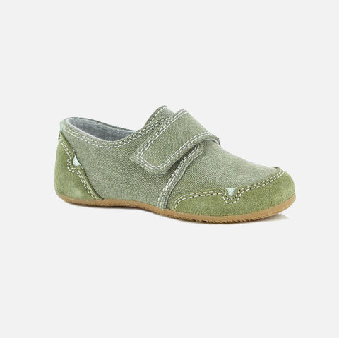 Velcro Cotton Canvas Slipper Shoe - Khaki - 24-35