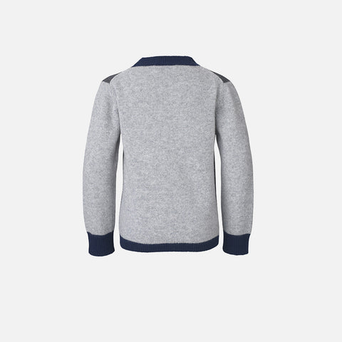Firenze Kennyno Contrast Wool Sweater - Grey/Navy/Charcoal - 12y