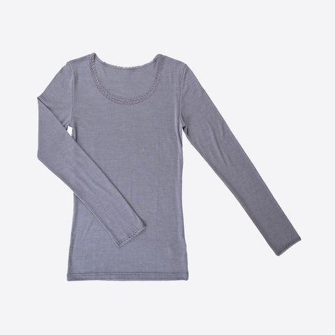 Ladies merino wool/silk top Grey