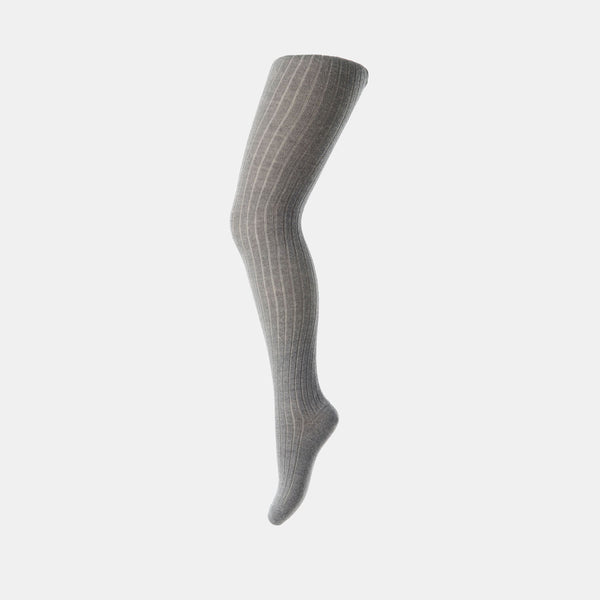 Wool rib tights - Grey - 5-9y
