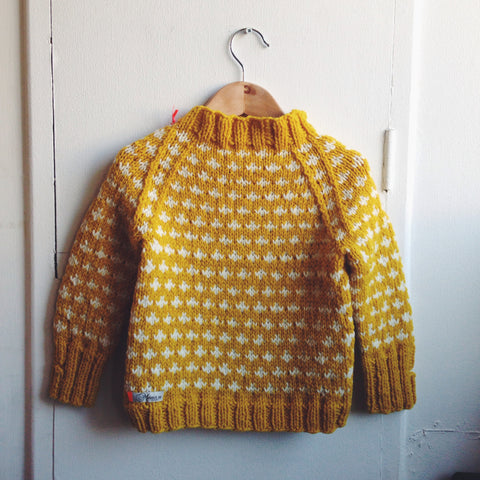 Hand-Knit Sweater Knud - Curry - 2-10y