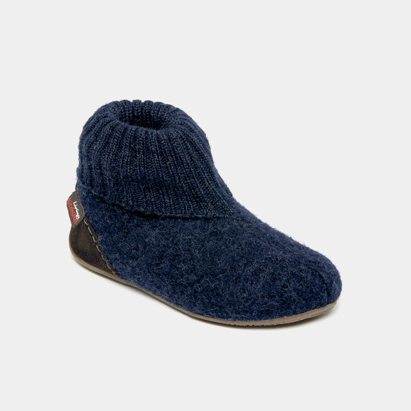 Navy Tall Wool Slipper Shoe Size - 26-40 (UK 8-12)