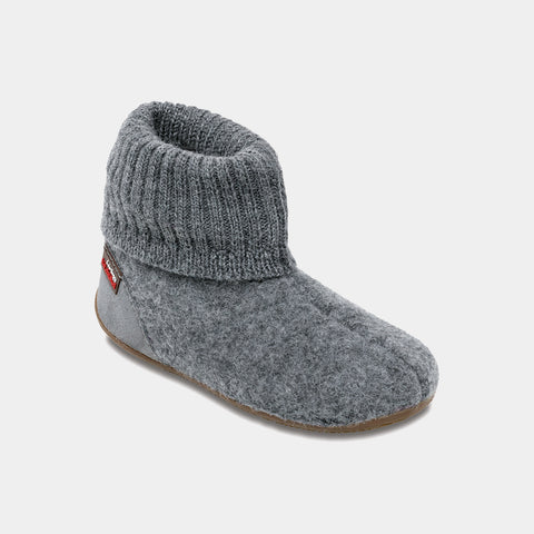 Tall Boiled Wool Slippers - Grey - EU 23-39 / UK Toddler 8 - Kid 6
