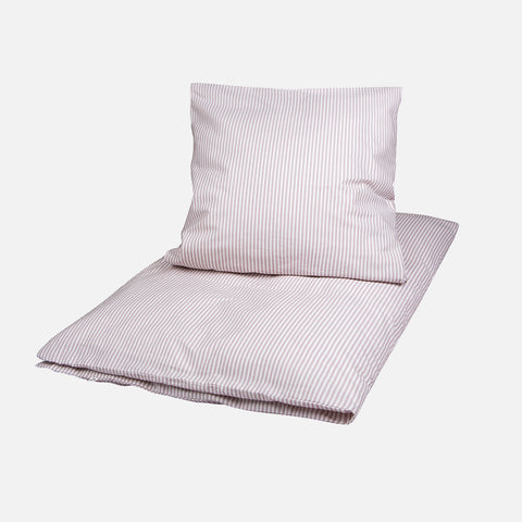 Organic Cotton Duvet & Cushion Cover - Rose Stripe - Jr Size